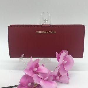 Michael Kors Jet Set Travel Md Flt Slm Bfld Wallet